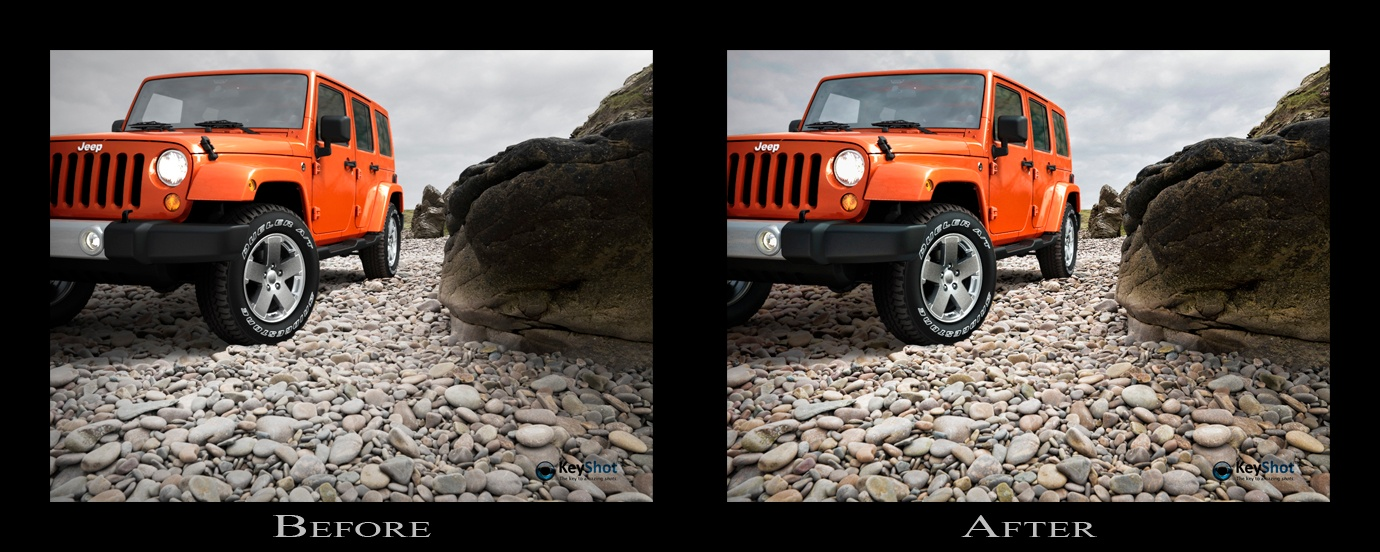 before after Jeep scene